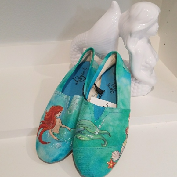f859d2814d91f Hand painted mermaid slip-ons NWT